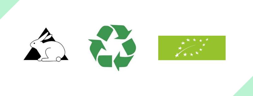 grafika przedstawiająca oznaczenia dla towarów ekologicznych